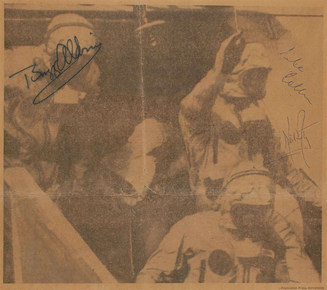 Apollo 11 Vintage Crew Signed Original 1969 Miami Herald Newspaper Following Their Historic Mission! (JSA)