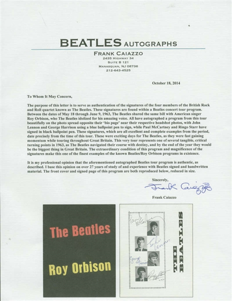 The Beatles & Roy Orbison Phenomenal Multi-Signed 1963 The Beatles & Roy Orbison Concert Program - PSA/DNA Graded MINT 9 & Caiazzo!