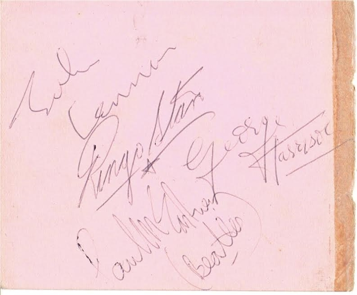 The Beatles Vintage Group Signed 4.5 x 5.5 Album Page w/ All Four Members! (TPA Guaranteed)