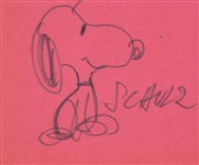 "Charles M. Schulz Signed & Hand Drawn 3"" x 5"" Snoopy Sketch (TPA Guaranteed)"
