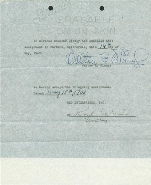 Walt Disney Signed 1962 WED Enterprises Contract w/ Motion Picture Content! (Beckett)