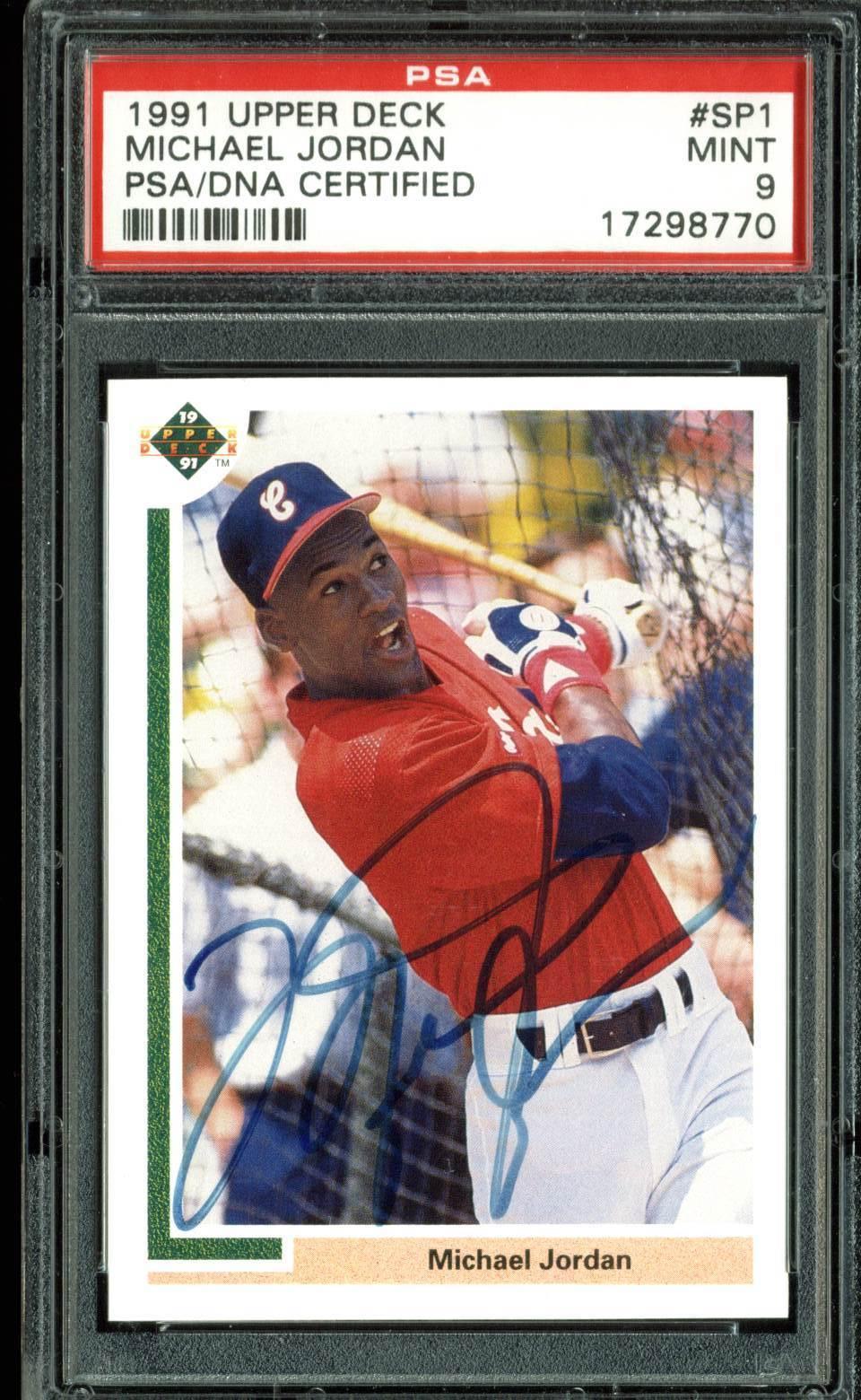 e8402f1feccf2a Michael Jordan Signed 1991 Upper Deck #SP1 Baseball Card (PSA Graded MINT  9) ...