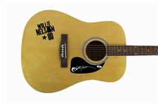 Willie Nelson Signed Acoustic Guitar w/ Unique Decal (PSA/DNA)