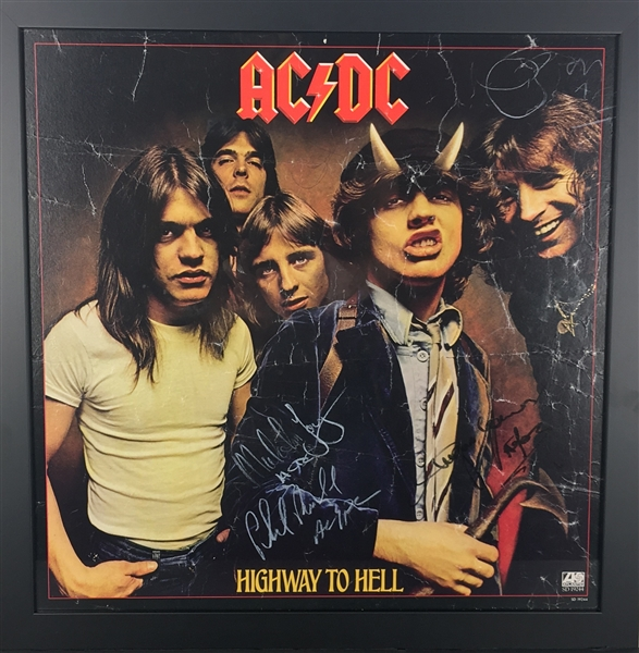 AC/DC Vintage Group Signed 18 x 18 Highway To Hell Promotional Flat w/ Bon Scott! (Beckett)