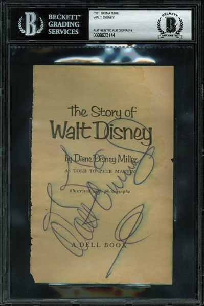 Walt Disney Signed The Story of Walt Disney Book Page (BAS/Beckett Encapsulated)