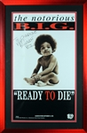"Notorious B.I.G. ULTRA RARE Signed Over-Sized 18"" x 32"" ""Ready to Die"" Poster in Framed Display (BAS/Beckett & JSA)"
