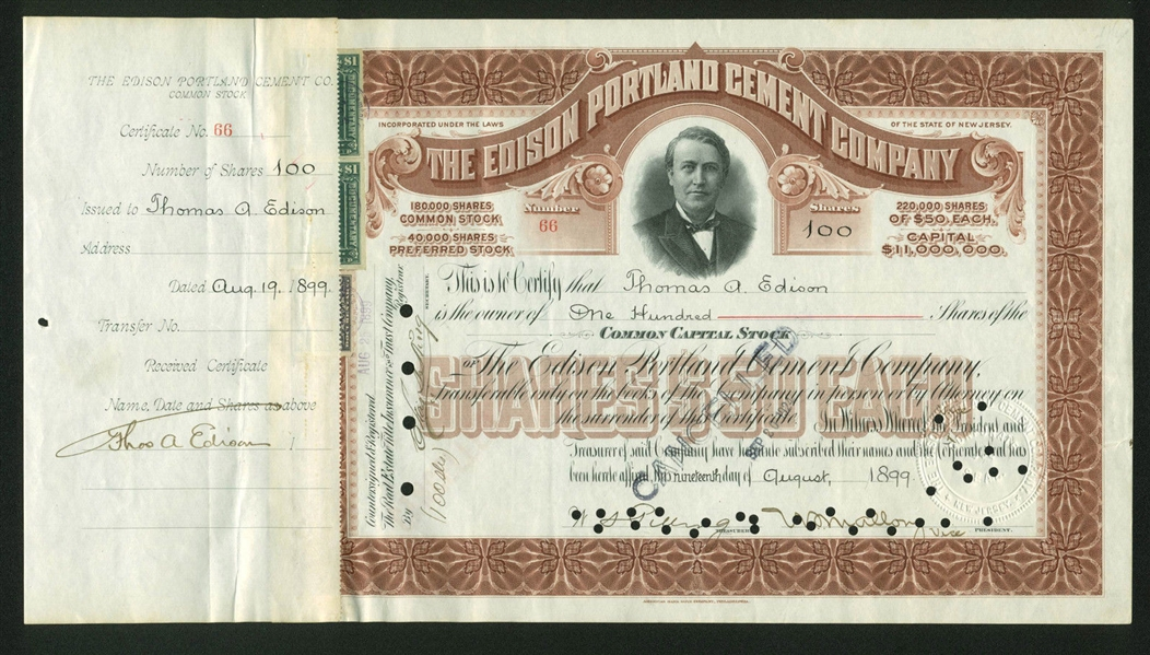Thomas Edison Signed Edison Portland Cement Company Stock Certificate (BAS/Beckett)