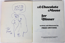 "The Munsters: Fred Gwynne Signed ""A Chocolate Moose For Dinner"" Book w/RARE Hand-Drawn Herman Munster Sketch (BAS/Beckett)"