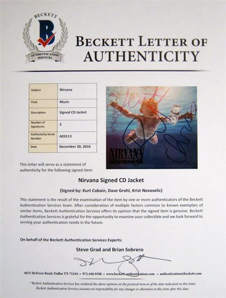 Nirvana Ultra Rare Group Signed Nevermind CD Booklet (Beckett/BAS)