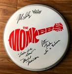 The Monkees Group Signed & Multi Inscribed Drumhead with Custom Band Decal (PSA/JSA Guaranteed)