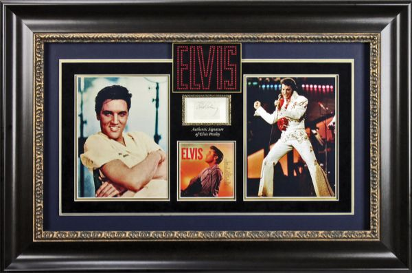Elvis Presley Vintage Ballpoint Pen Autograph in Custom Framed Display (PSA/DNA)