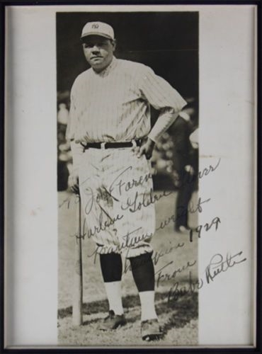 Babe Ruth Impressive Signed & Inscribed 8 x 10 Photo in Custom Framed Display (PSA/DNA)