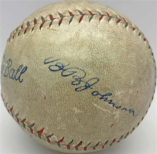 Murders Row: c.1927 Babe Ruth Single Signed OAL Ban Johnson Baseball (PSA/DNA)
