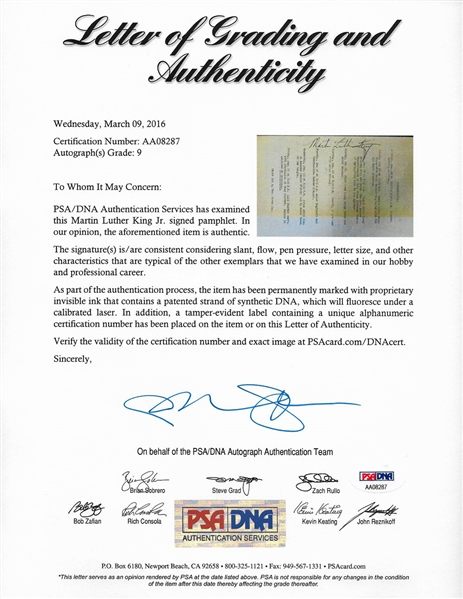 Martin Luther King Jr. Near-Mint Signed 4 x 7 Shabbat Pamphlet--PSA/DNA Graded Mint 9!