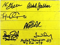 "Showtime Lakers (7) Signed 8"" x 10"" Forum Floorboard Piece - Magic, Kareem +5 (PSA/DNA & BAS/Beckett)"
