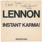 "John Lennon & Yoko Ono Dual Signed ""Instant Karma"" 45 Album PSA/DNA Graded MINT 9"