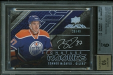 Connor McDavid Signed 2015 Upper Deck Black Rookie Card BGS Graded Perfect 10 Auto!