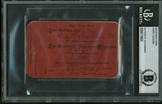 Harry Houdini Signed 1921 Society of American Magicians Card (Beckett/BAS Encapsulated)