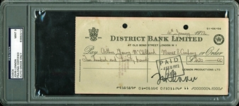The Beatles: John Lennon Signed 1972 Personal Lennon Productions LTD Check w/ Superb Autograph! PSA/DNA Graded MINT 9!