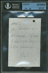 "Neil Armstrong Signed 3"" x 6"" Hand Written & Signed Note w/ Missile Content! (JSA/Beckett)"