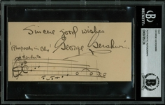 "George Gerswhin Signed Album Page with Vividly Illustrated ""Rhapsody in Blue"" Musical Quotation! (BAS/Beckett Encapsulated)"