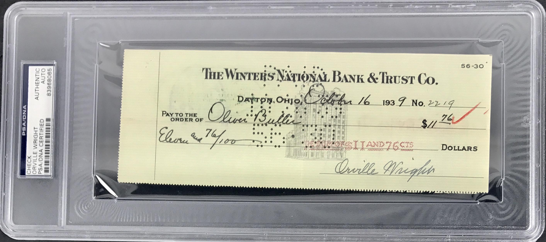 lot detail orville wright superb signed bank check 1939 psa dna encapsulated. Black Bedroom Furniture Sets. Home Design Ideas