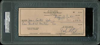 Johnny Cash Ultra-Rare Double Signed Bank Check Written To and Endorsed By June Carter Cash! (PSA/DNA Encapsulated)