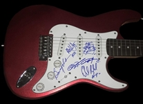 AC/DC Group Signed Stratocaster Style Electric Guitar w/ 5 Signatures & Angus Young Self Portrait Sketch (REAL/Epperson Guaranteed)