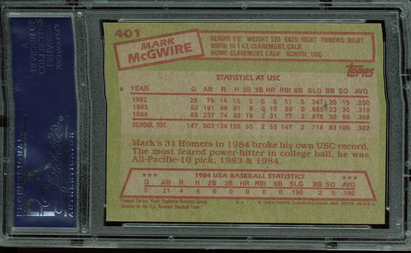 Lot Detail Mark Mcgwire Signed 1985 Topps Rookie Card 401