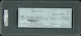 Madonna Ultra-Rare Handwritten & TWICE Signed Bank Check from 1984 - PSA/DNA Graded GEM MINT 10!
