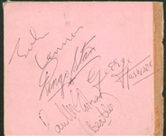 The Beatles Group Signed c. 1962 Album Page w/ All Four Members! (JSA)