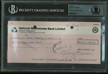 The Beatles: George Harrison Signed 1971 Apple Records Check Beckett Graded MINT 9!