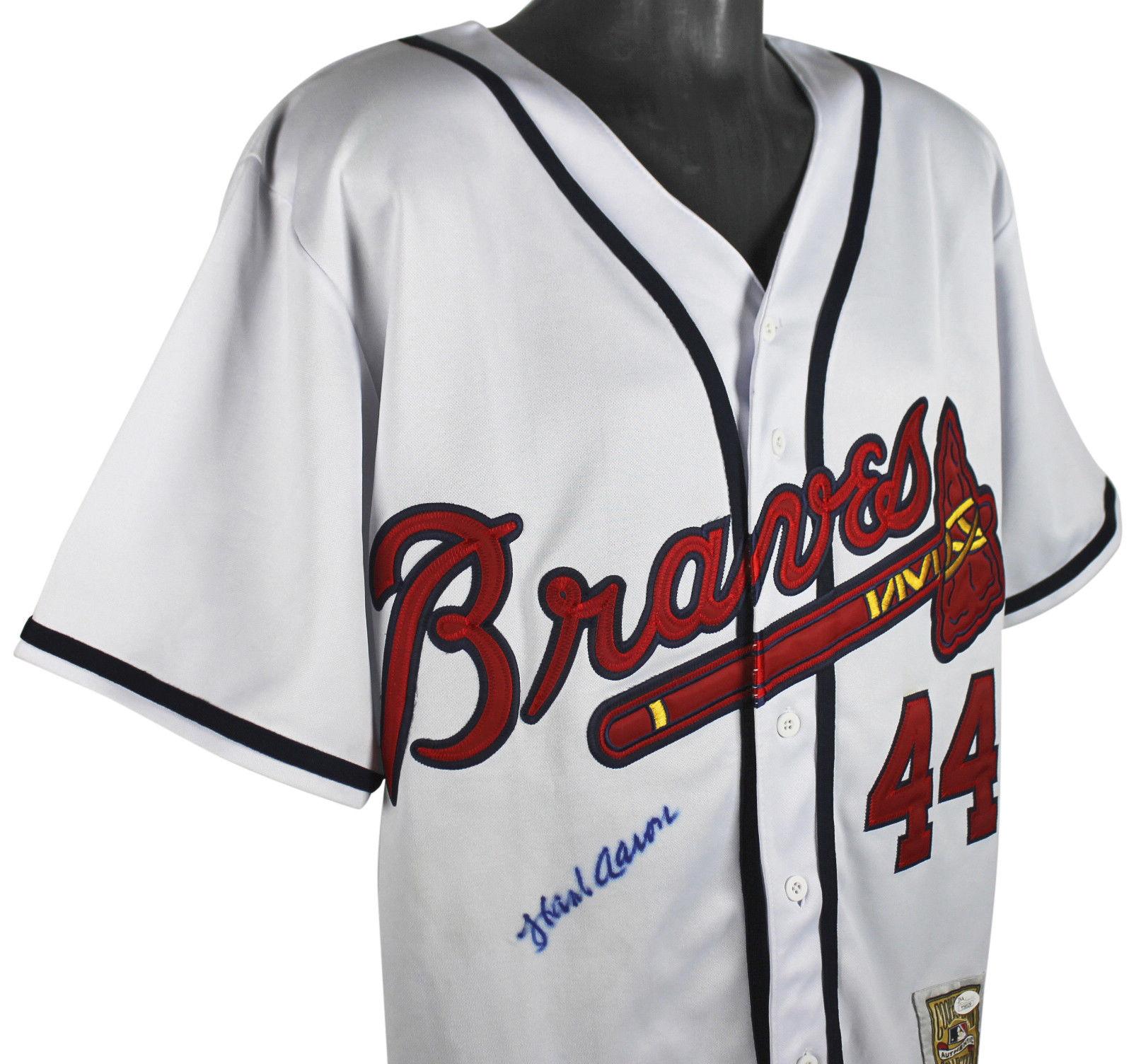 9ecb991b Lot Detail - Hank Aaron Signed Mitchell & Ness Atlanta Braves Jersey ...
