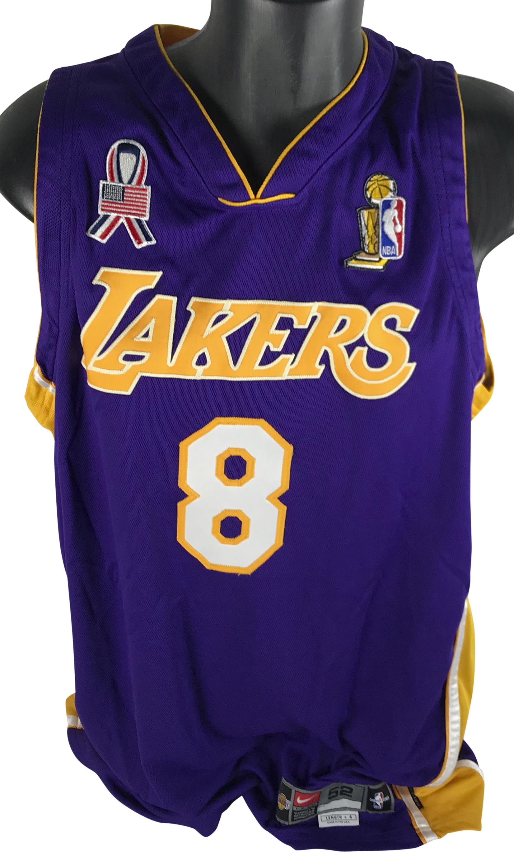 971627ca7016 ... Kobe Bryant Game Used 2001-2002 Lakers NBA Finals Uniform (Grey  Flannel) ...