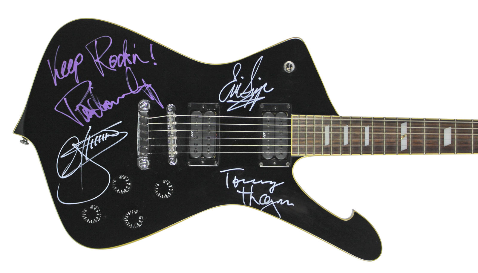 Lot Detail - KISS: Group Signed Ibanez Iceman Guitar w/ 4 Signatures ...