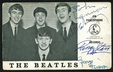 "The Beatles Group Signed 3.5"" x 6.5"" Parlophone Photograph w/ ULTRA-RARE On-The-Front Autographs! (Beckett/BAS)"