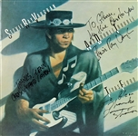 "Stevie Ray Vaughan & Double Trouble Group Signed ""Texas Flood"" Album Cover (3 Sigs)(Beckett/BAS & JSA)"