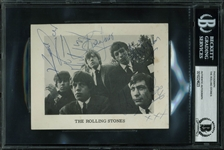"The Rolling Stones Vintage Signed 4"" x 6"" Promotional Photograph w/ Brian Jones (BAS/Beckett Encapsulated)"