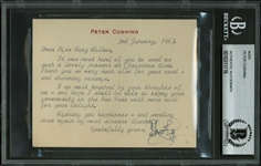 Peter Cushing Typed & Hand Signed 1963 Note (BAS/Beckett Encapsulated)