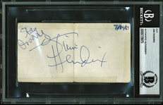 "Jimi Hendrix Near-Mint c. 1969 Signed 2"" x 4"" Album Page One Month Prior To Woodstock! (Beckett/BAS Encapsulated)"