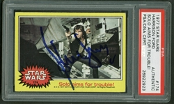 "Harrison Ford Signed 1977 Star Wars #174 ""Solo Aims For Trouble!"" Trading Card (PSA/DNA)"