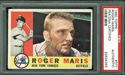 Roger Maris Signed 1960 Topps #377 Card (PSA/DNA Encapsulated)