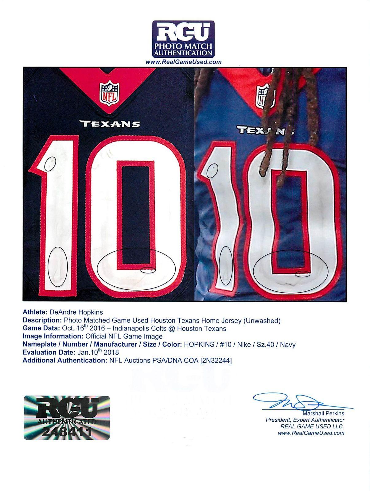 buy online 78cf3 32e79 Lot Detail - DeAndre Hopkins Game Used & Signed Houston ...