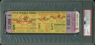 RARE 1956 World Series Full Game 5 Ticket - Don Larsens Perfect Game! (PSA Encapsulated)