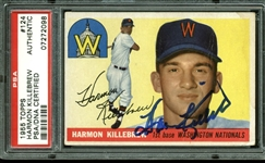 Harmon Killebrew Signed 1955 Topps #124 Rookie Card (PSA/DNA Encapsulated)