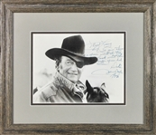 "John Wayne Rare Signed & Inscribed 1973 8"" x 10"" Photograph as Rooster Cogburn in Framed Display (BAS/Beckett)"