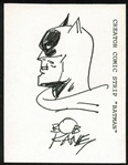 "Bob Kane Hand-Drawn & Signed 3"" x 4"" Batman Sketch (JSA)"