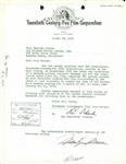 Marilyn Monroe Rare Signed Twentieth Century Fox Contract Extension w/ Agent William Morris (JSA)