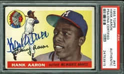 Hank Aaron Signed 1955 Topps #47 Card (PSA/DNA Encapsulated)