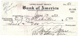 Marilyn Monroe Near-Mint Signed & Hand Written 1953 Bank Check (Beckett/BAS)